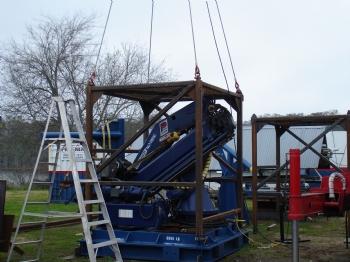 Four point load test on steel frames